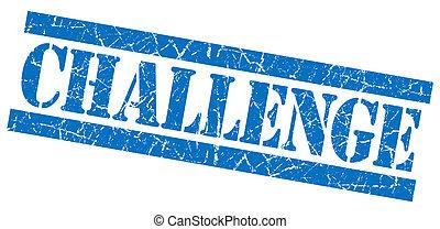 挑戦, 青い正方形, グランジ, textured, 切手, 隔離された, 白