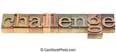挑戰, 在, letterpress, 類型