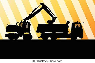 挖掘機, 挖掘者, 在行動, 矢量, 背景, 概念