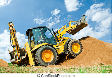 挖掘機, loader, 由于, backhoe, 工作