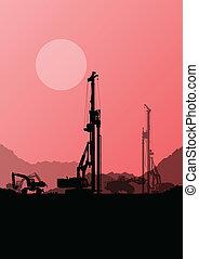 挖掘機, loaders, 水力, 堆, 操練, 機器, 拖拉机, 以及, 工人, 挖掘, 在, 工業, 建築工地,...