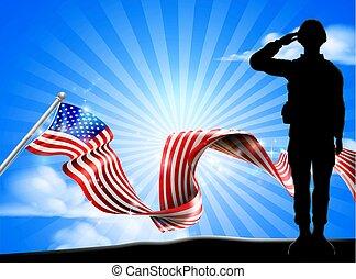 挨拶, アメリカの旗, 背景, 兵士