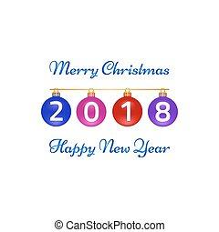 挨拶, バックグラウンド。, 陽気, 年, 新しい, クリスマス, 白, カード, 幸せ