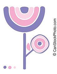 挨拶, ピンク, かわいい, カード, 紫色の 花