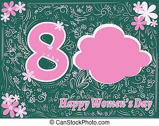 挨拶, ピンク, 日, womens, 幸せ, フレーム, 緑, 泡, カード