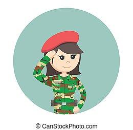 挨拶, 円, 女, 背景, 軍隊