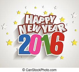 挨拶, 年, 新しい, 2016, カード, 幸せ