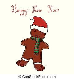 挨拶, 手, デザイン, 年, gingerbrea, 新しい, クリスマス, 図画, カード