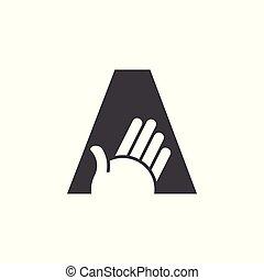 挨拶, 手, ベクトル, 手紙, ロゴ, ジェスチャー