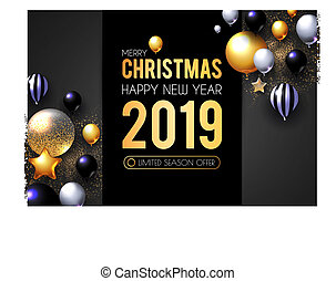 挨拶, 現実的, 2019, グロッシー, 新しい, serpentine., 照ること, 風船, year!, カード, 幸せ