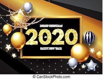 挨拶, 現実的, 2020, グロッシー, 年, 新しい, serpentine., 照ること, 風船, カード, 幸せ