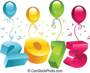挨拶, 2013, 年, 新しい, カード, 3d