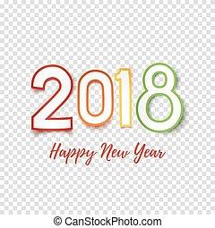 挨拶, 2018, 年, 新しい, template., カード, 幸せ