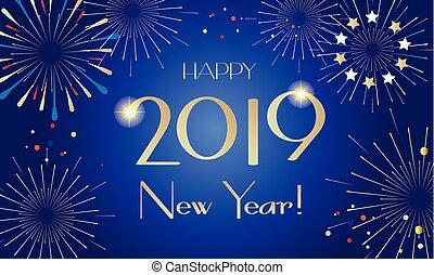 挨拶, 2019, 年, 新しい, カード, 幸せ