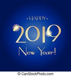 挨拶, 2019, 新しい, year!, カード, 幸せ