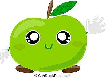 挨拶, characters., 振ること, アップル, 漫画, ベクトル, かわいい, 特徴, 緑, 微笑, フルーツ