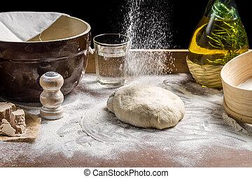 振りかけること, 生地, 小麦粉, ピザ