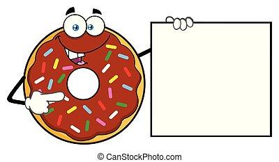 振りかける, 提示, 特徴, チョコレート, ドーナツ, 旗, 漫画, マスコット