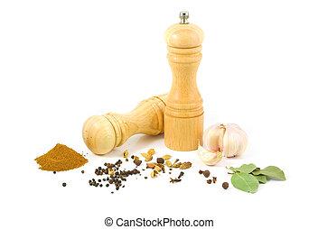 振りかけ式容器, セット, 粉砕器, 木製である, コショウ, スパイス, 塩