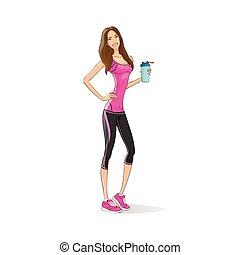 振りかけ式容器, 女, 運動, 上に, 飲みなさい, 暑い, トレーナー, ボディービルダー, スポーツ, 背景, ...