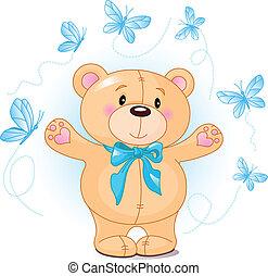 振ること, こんにちは, 熊, テディ