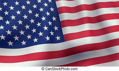 振ること, アメリカ人, レンダリングした, 旗, 3d