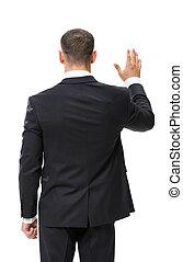 振ること, ビジネスマン, backview, 手