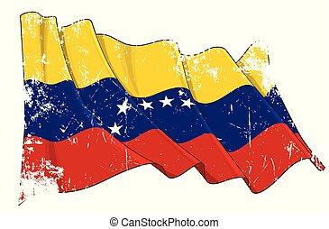 振ること, ベネズエラの旗, グランジ, textured