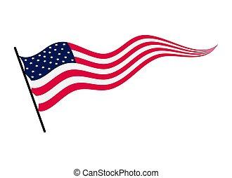 振ること, 国民, flag., アメリカの州, シンボル, 旗, 背景, イラスト, 白, ベクトル, 合併した, 波状, america., -