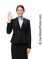 振ること, 女性実業家, 半分長さ, 肖像画, 手