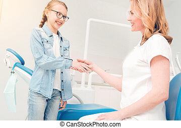 振动, 牙医, 手, schoolgirl, 可爱, 边观点