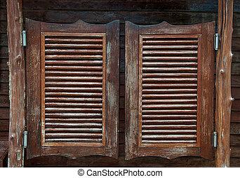 振動, 大広間, 古い, ドア, 西部