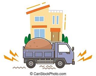 振動, 騒音, ゴミ捨て場, 問題, トラック