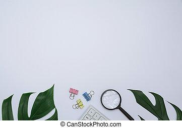挿入, オフィススペース, 上, text., ノート, 背景, 供給, 白, コピー, 光景