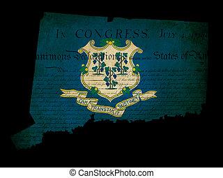 挿入, グランジ, アウトライン, アメリカ, 上塗り, コネチカットの旗, 効果, 州, 宣言, アメリカ人, 文書, 独立