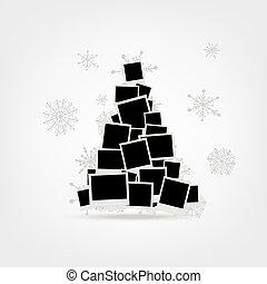 挿入, 作られた, pictur, 写真, 木, クリスマス, フレーム, デザイン, あなたの