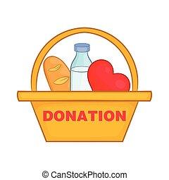 捐贈箱子, 由于, 食物, 圖象, 卡通, 風格