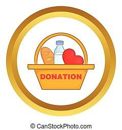 捐贈箱子, 由于, 食物, 矢量, 圖象