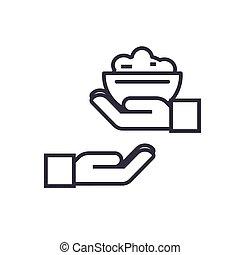 捐贈, 食物, 概念, 矢量, 稀薄的線, 圖象, 符號, 簽署, 插圖, 上, 被隔离, 背景