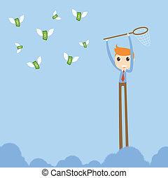 捕獲物, ビジネスマン, つらい, お金