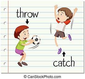 捕獲物, 単語, 投球, カード