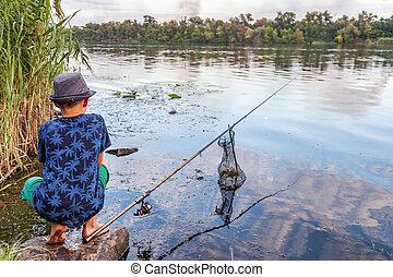 捕獲物, 男の子, 棒, fish, 釣り