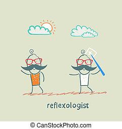 捕獲物, 針, 患者, reflexologist