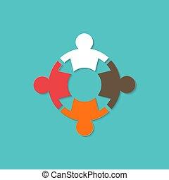 捜索しなさい, ビジネス, かみ合った, 考え, イラスト, 接合箇所, ベクトル, チームワーク, グラフィックス