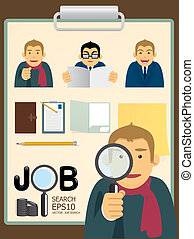 捜索しなさい, ベクトル, セット, characters.job
