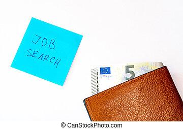 捜索しなさい, 空, 損失, 白, concept., 探索, お金, 開いた, バックグラウンド。, 仕事, 財布, 古い, ぼろぼろ, ノート, 札入れ, lay., 失業, 窮乏, 句, 仕事, 最後, 平ら