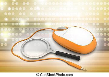 捜索しなさい, concept., 拡大鏡, ∥で∥, コンピュータマウス