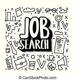 捜索しなさい, illustration., concept., 仕事, ベクトル, デザイン
