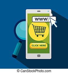捜索しなさい, smartphone, バー, カーソル, 矢, ポインター