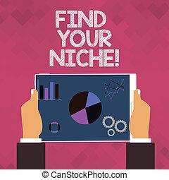 捜索しなさい, work., テキスト, 提示, 印, あなたの, フィールド, 選択, 決定しなさい, 写真, 概念, niche., 教育, ファインド